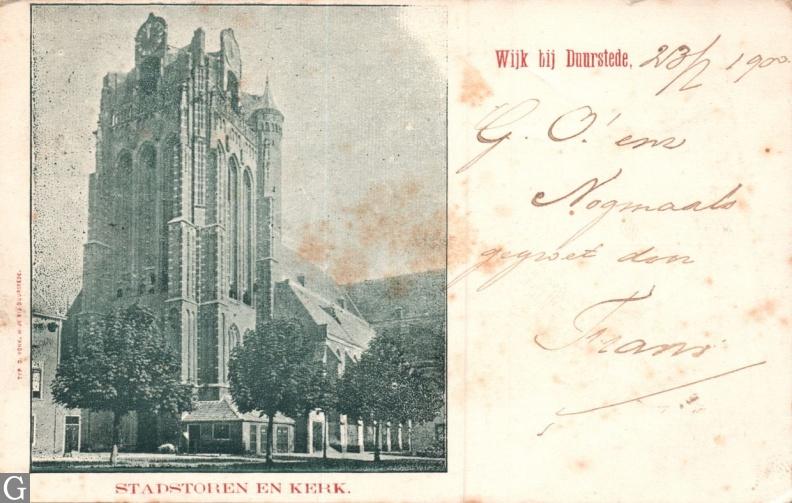 Stadstoren en kerk Wijk bij Duurstede 1900