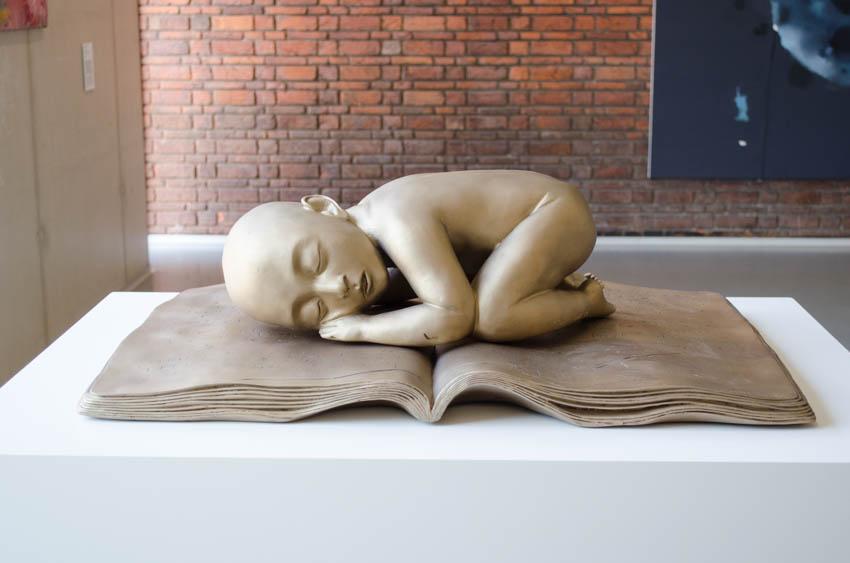 slapende jongen op het boek